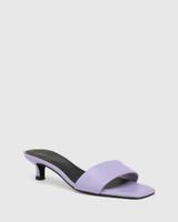Jamila Lavender Leather Kitten Heel Sandal.