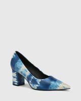 Penrose Cobalt Blue Tie Dye Leather Block Heel Pump.