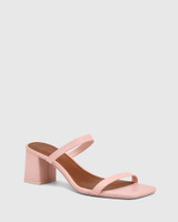 Kourtney Bubblegum Pink Leather Block Heel Sandal .