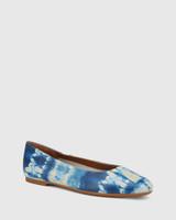 Artie Cobalt Blue Tie Dye Leather Round Toe Flat.