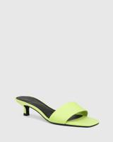 Jamila Fluro Green Leather Kitten Heel Sandal.