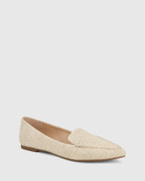 Pamina Natural Linen Pointed Toe Loafer.