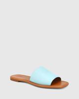 Barron Baby Blue Leather Flat Slide.