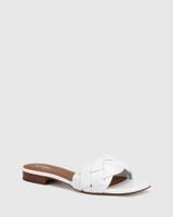 Artica White Woven Leather Flat Slide.