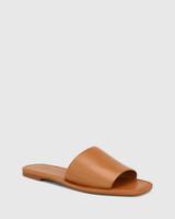 Barron Tan Leather Flat Slide.