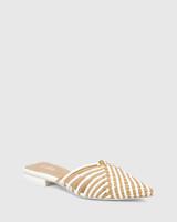 Mila White & Clay Woven Leather Block Heel Mule.
