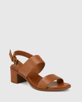 Karlie Cognac Leather Block Heel Sandal.