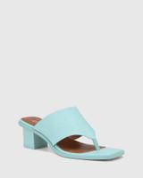 Johnson Baby Blue Leather Block Heel Sandal.