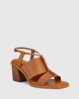 Clarion Coconut Leather Block Heel Sandal.