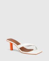 Kandie White Leather Round Heel Square Toe Sandal.