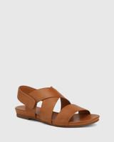 Leena Tan Leather Open Toe Flat Sandal.