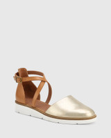 Jayko Pearl Gold and Tan Leather Round Toe Wedge.