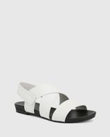 Leena White Leather Open Toe Flat Sandal.