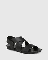 Leena Black Leather Open Toe Flat Sandal.