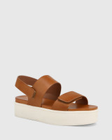 Jolly Tan Leather Slingback Flatform Sandal.
