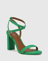Raven Green Leather Open Toe Block Heel.