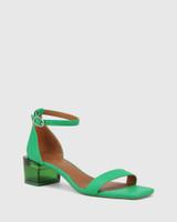 Gem Green Leather Transparent Heel Sandal.