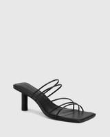 Klaire Black Leather Strappy Square Toe Sandal.