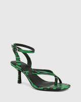 Charly Green Snake Print Leather Square Toe Sandal