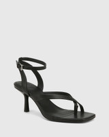 Charly Black Leather Square Toe Sandal