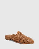 Hatisha Tan Leather Woven Flat Mule