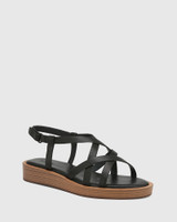 Etienne Black Leather Cross Strap Sandal