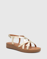 Etienne Pearl Gold Leather Cross Strap Sandal