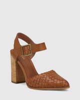 Whimsical Brandy Leather Block Heel Pump