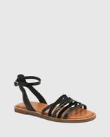 Cayenne Black Multi Leather Flat Strappy Sandal