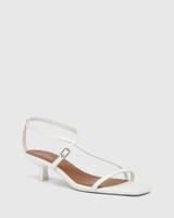 Jenelle White Leather Kitten Heel Sandal