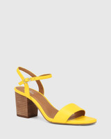 Collin Yellow Leather Block Heel Ankle Strap Sandal