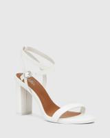Raven White Leather Open Toe Block Heel