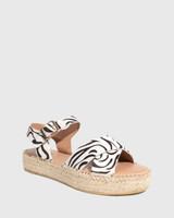 Ugata Zebra Print Leather Espadrille Flatform Sandal
