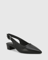 Andres Black Leather Pointed Toe Low Heel Slingback.