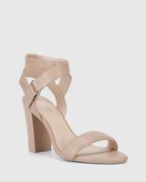 Ralexx 2 Nude Leather Block Heel Sandal