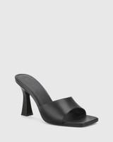 Ruthie Black Leather Curve Heel Sandal.