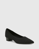 Affinity Black Recycled Knit Low Heel Pump