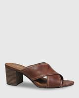 Nolan Dark Brown Leather Block Heel Mule.