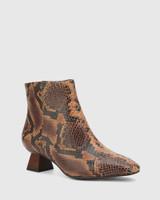 Gotham Brown Anaconda Print Leather Sculptured Heel Ankle Boot.