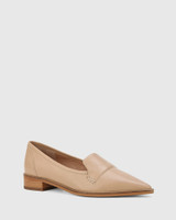 Miguel Sesame Leather Pointed Toe Loafer.