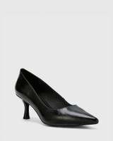 Daiko Black Vintage Patent Leather Stiletto Heel Point Toe.