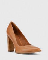 Willa Tan Leather Block Heel Pump.
