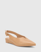 Alvin Natural Leather Pointed Toe Slingback Flat.