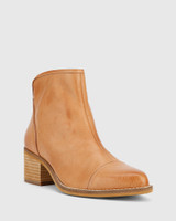 Jacey Tan Leather Block Heel Ankle Boot.