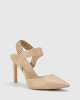 Hanira Ecru Leather Elastic Slingback Stiletto.