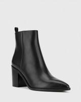Pearce Black Leather Block Heel Ankle Boot.