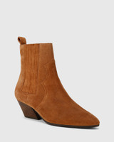 Karissa Tobacco Suede Block Heel Western Ankle Boot.