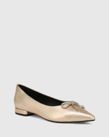 Marcek Tuscan Gold Leather Pointed Toe Flat