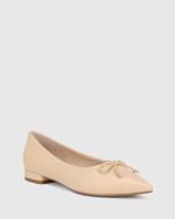 Marcek Ecru Leather Pointed Toe Flat
