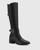 Ionna Black Leather With Elastic Long Boot